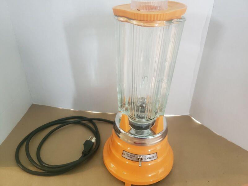 Vintage Waring Commercial Blender Bright Orange Clover Glass Retro Mid Century