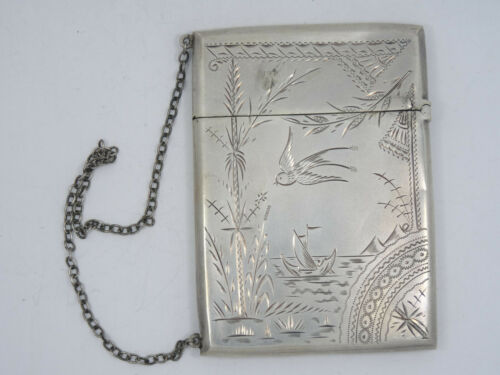 ANTIQUE CHASED STERLING SILVER CALLING CARD WITH WRIST CHAIN ~ 41g / 3.25""