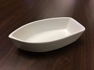 NEW white porcelain boat dish bowl
