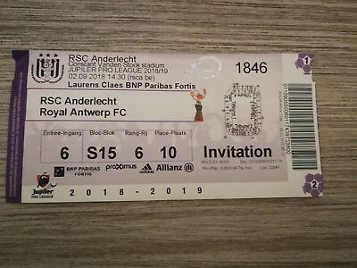 Ticket RSC Anderlecht - Royal Antwerp 02-09-2018 Pro League Belgique