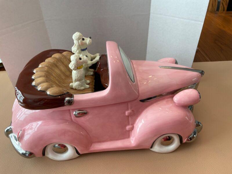 Henry Cavanagh Ceramicar Poodle Dogs Car Ceramic Doggy Cookie Jar Doggie