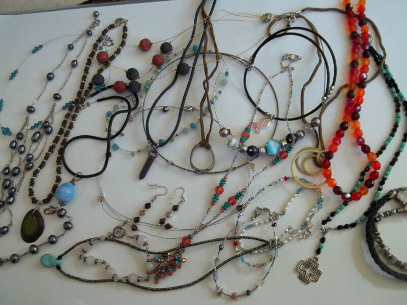 23 pc necklace+bracelet lot,sterling silver,stone+crystal beads,wearable pre-own