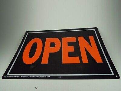 Hy-ko Open And Closed Sign Black With Orange Writing Business Office