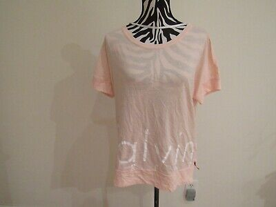 NWT Calvin Klein performance pink /white color crew neck short sleeve tee top S