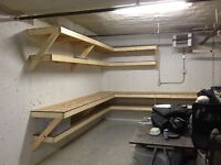 Garage shelving / work bench / storage. $30/ft. installed