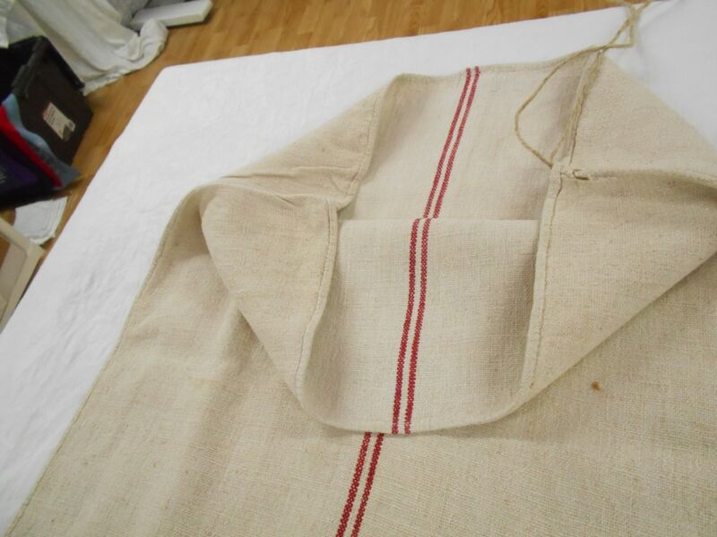 Vtg Antique DOUBLE RED STRIPE Primitive HEMP LINEN Fabric FEED SACK GRAIN BAG