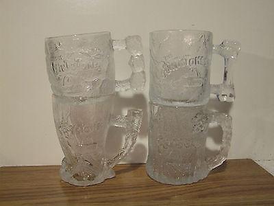 1993 Complete Set of 4 McDonald's Flintsones Glasses 2 Made In France & 2 In USA
