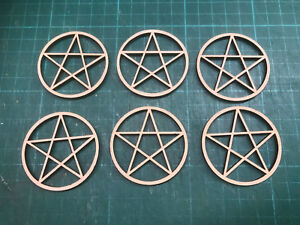 mdf  wooden 6 x small pentagrams  /shape /  sign / stencil