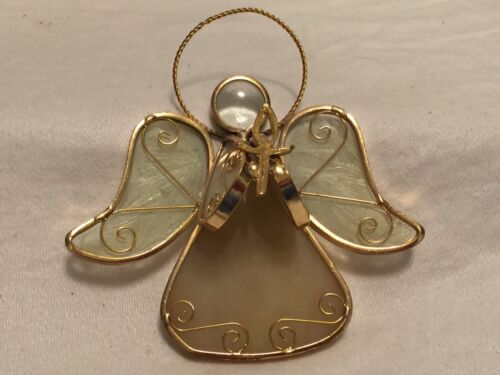 WHITE STAINED GLASS W/ GOLD TRIM ANGEL ORNAMENT Wings Halo 5""