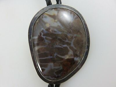 Handcrafted Sterling Silver Bolo Tie Polished Brown Jasper Stone SIGNED