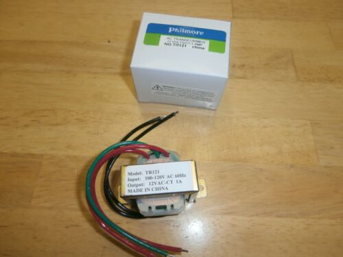 PHILMORE TR121 120VAC TO 12VAC CT 6-0-6 1AMP POWER TRANSFORMER,NEW