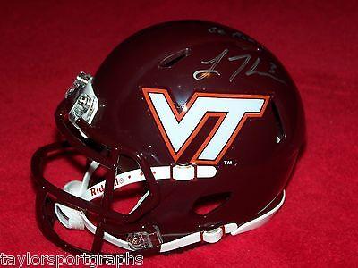 Virginia Tech Logan Thomas Mini Helmet Global Authentic Certified Autograph