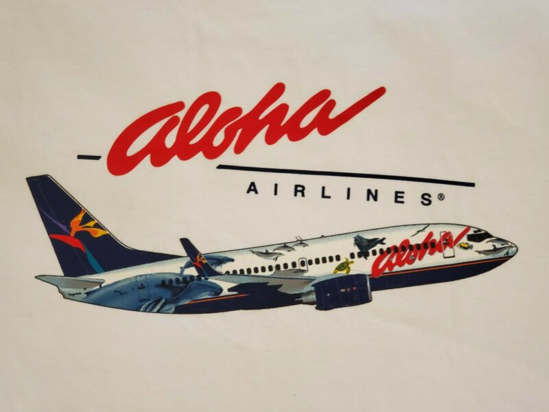 "OFFICIAL ALOHA AIRLINES ""WYLAND"" T-SHIRT SIZE XLARGE"