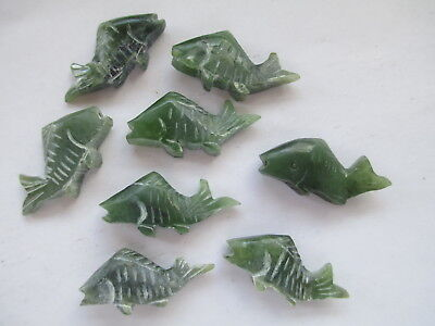 8 Genuine Carved Vintage Jade Fish 25x14mm w/Half Drill For Findings - Detailed