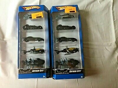 2 SET - 2006 Hot Wheels Batman Begins Gotham City  5 pack - Batmobile, Batcycle