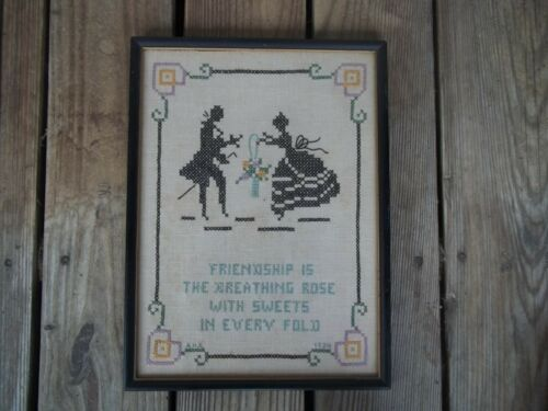Vintage 1934 Framed Friendship Silhouette Cross Stitch Sampler Signed A.H.A.