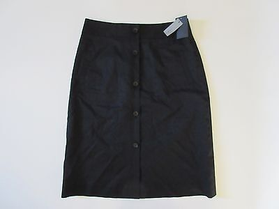 NWT Classiques Entier Black Button Front Stretch Cotton Linen Twill Skirt 10