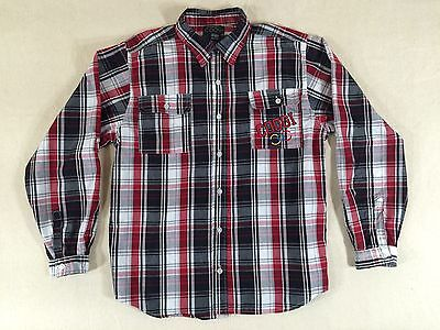 Coogi Boys Shirt Size 16-18 Plaid Long Sleeve Button Down Embroidered Logo