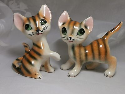 CUTE WHIMSICAL STRIPED PORCELAIN KITTY CAT FIGURAL SALT & PEPPER SHAKERS