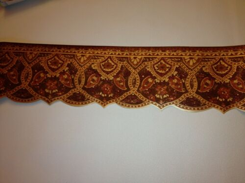 LASER CUT RED BROWN & GOLD CROWN MOLDING PREPASTED WALLPAPER BORDER #IL42001DB
