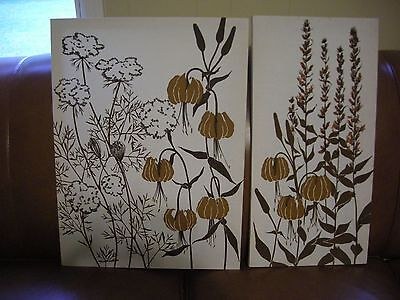 Vintage Marushka Framed Screen Print Pair - Lake Grass and Flowers - 24