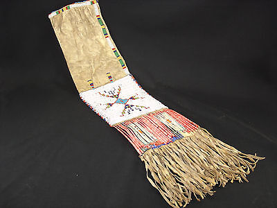 A Sioux leather pipe bag w/ beading & quill, Native American Indian, Circa: 1900