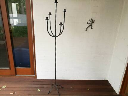 Unusual wrought iron vase & candelabra