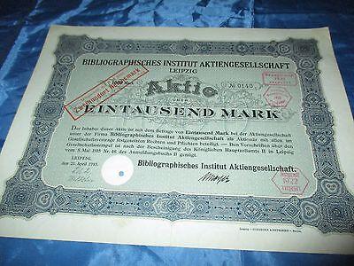 histor. AKTIE , Bibliographisches Institut AG LEIPZIG  1915 // 1000 Mark ,Nr.140
