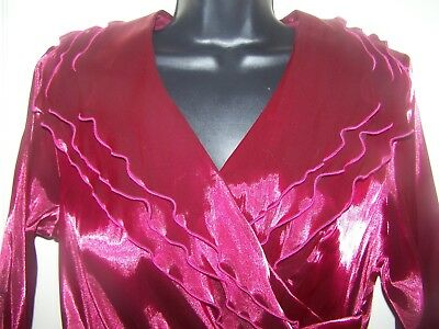 Richards Satin (R & M Richards Red Satin Ruffle Formal Party Blouse Jacket Size 10 NWT H2v)