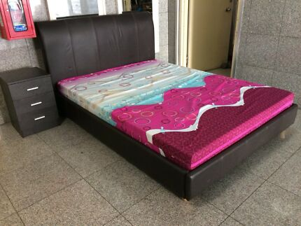 Super sturdy and comfy queen bed frame and mattress