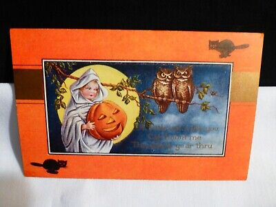 Vintage Halloween Postcard-HTF-Young Girl Witch W/JOL Going Haunting-By Whitney
