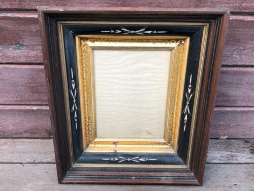 Antique Victorian Deep Well Walnut Picture Frame Black Adamantine Border