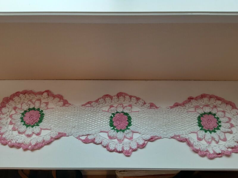 Crocheted Flowered Doilie 35 inches White with pink flowers