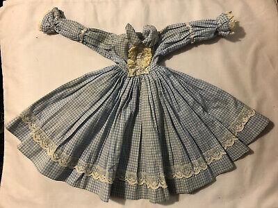 Vtg Antique Victorian Baby Doll Dress Blue & White Check w/ Lace Trim