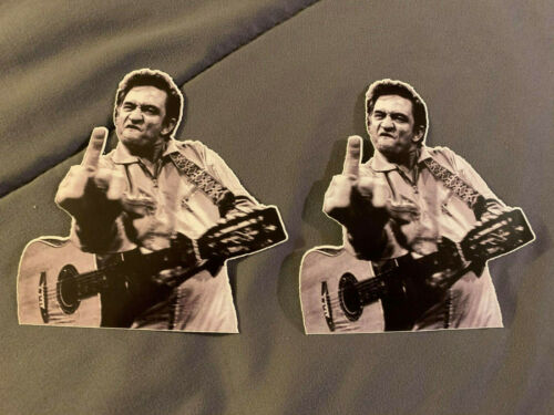 """Lot (2) JOHNNY CASH Middle Finger 4"""" x 4"""" Guitar Photo Stickers FAST! FREE!"""