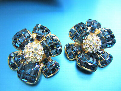 STUNNING DESIGNER JARIN GOLD PLATED SAPPHIRE & CLEAR CRYSTALS FLOWER EARRINGS