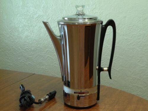 Vintage General Electric Coffee Percolator Chrome Art Deco 10 Cup Glass Knob