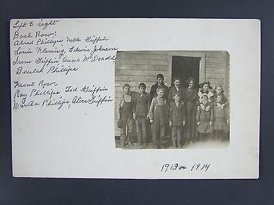 School Children Identified Dickey County North Dakota ND Real Photo 1913-14 (North County Kids)