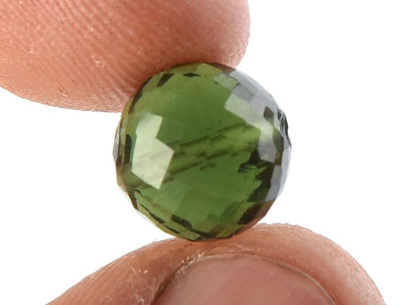 1.38g bead DRILLED MOLDAVITE FACETED CUTTED GEM 10.5mm #BRUS1797