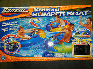Banzai Motorized Bumper Boat Raft Float W Water Blaster
