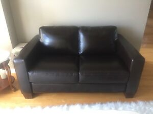 Chocolate leather 2 seat couch