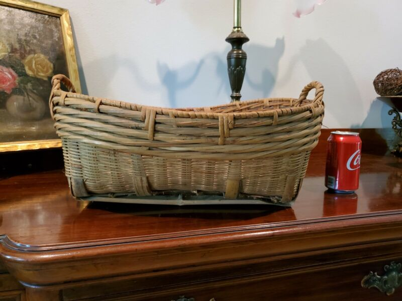 Original Chinese Bamboo Basket Hand Woven Hand Crafted Antique Vintage Sturdy