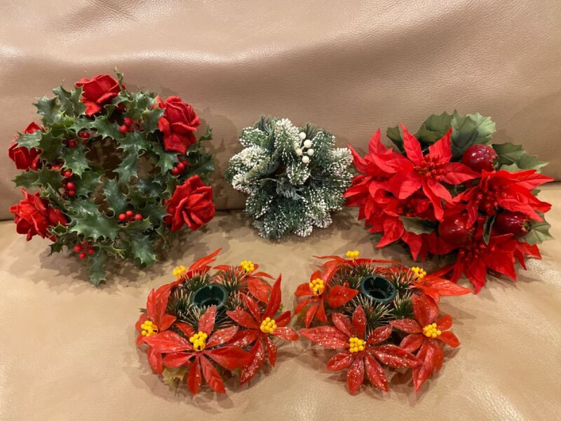 Vintage DELDAN Design Plastic Christmas Wreaths Red Poinsettia Roses Made ITALY