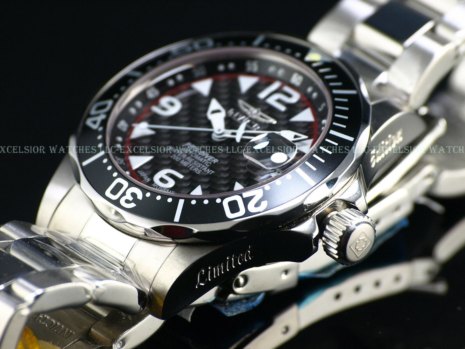 $299.99 - RARE NEW Invicta Lim.Ed. Pro Diver Automatic Sapphire Crystal CF Dial SS Watch