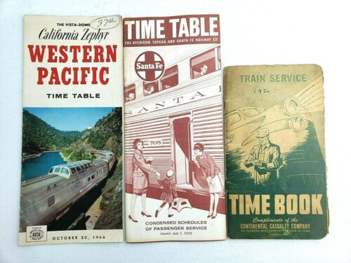 Railroad Santa Fe Time Table California Zephyr Western Pacific Time Table