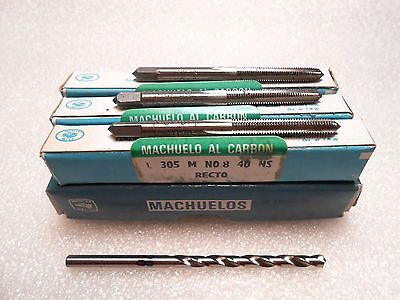 Greenfield Tap Die 8-40 Carbon Steel Tap Set Taper Plug Bottom 28 Drill