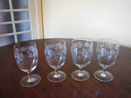 Set of 5 Antique Wine Glasses etched grapes and wine leaves