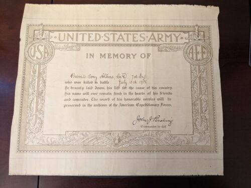 WWI US Army Private Memorial Service Certificate signed General John Pershing