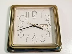 Vintage Seiko Wall Clock Day Date Made In Japan Quartz