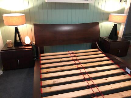Quality Queen Bed Unique Shape Timber Frame. 4pc Suite also avail